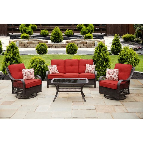 Orleans 4PC Seating Set in Autumn Berry - ORLEANS4PCSW-B-BRY