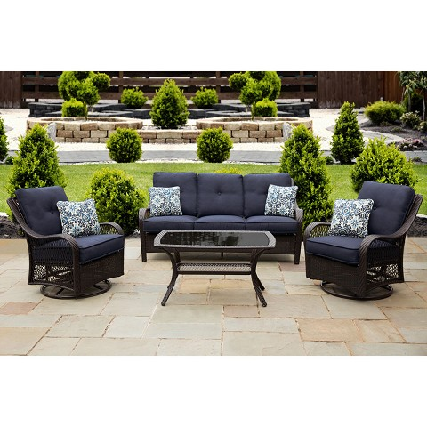 Orleans 4PC Seating Set in Navy Blue - ORLEANS4PCSW-B-NVY