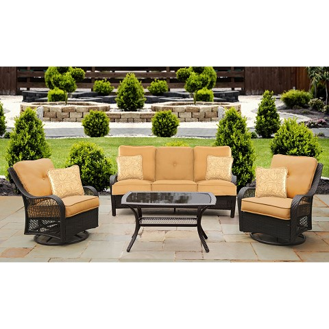 Orleans 4PC Seating Set in Sahara Sand - ORLEANS4PCSW-B-TAN