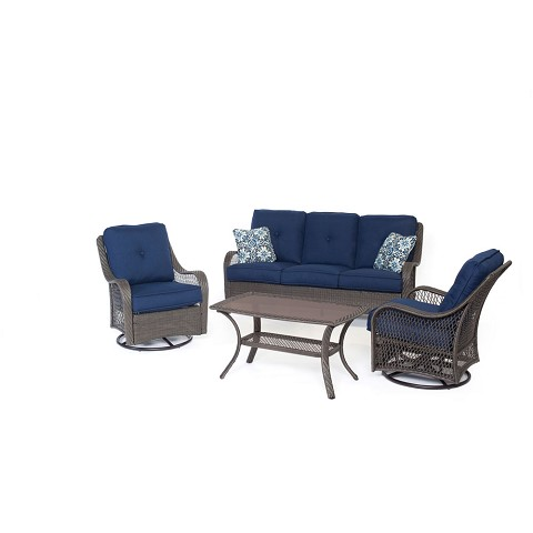 Orleans 4PC Seating Set in Navy Blue with Gray Weave - ORLEANS4PCSW-G-NVY