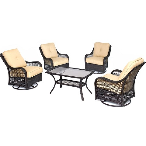 Orleans 5PC Patio Chat Set in Sahara Sand - ORLEANS5PCSWCT-B-TAN