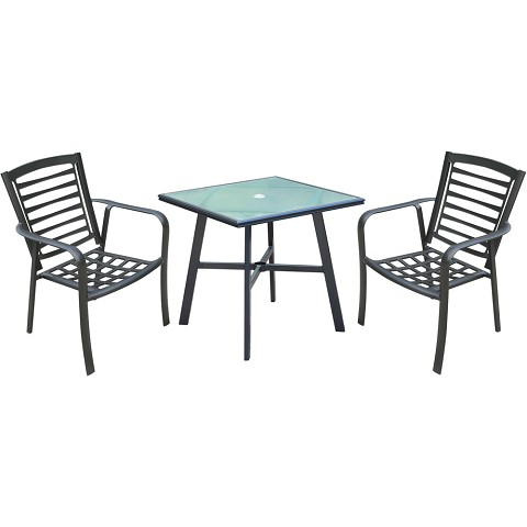 "Hanover Pemberton 3-Piece Commercial-Grade Bistro Set with 2 Stackable Dining Chairs and a 30"" Square Glass-Top Table, PEMDN3PCG"