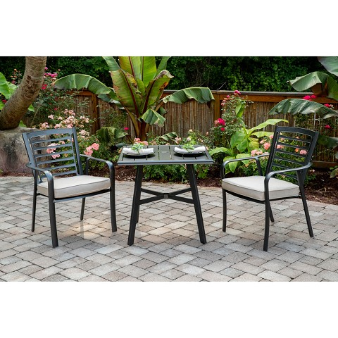"Hanover Pemberton 3-Piece Commercial-Grade Bistro Set with 2 Cushioned Dining Chairs and a 30"" Square Slat-Top Table, PEMDN3PCS-ASH"
