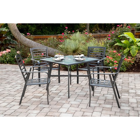 "Hanover Pemberton 5-Piece Commercial-Grade Patio Dining Set with 4 Stackable Dining Chairs and a 38"" Square Glass-Top Table, PEMDN5PCG"