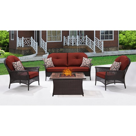 San Marino 4PC Fire Pit Lounge Set with Wood Grain Tile Top in Crimson Red - SMAR4PCFP-RED-WG