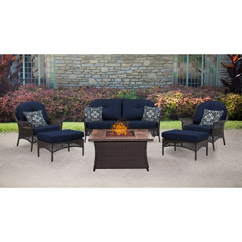 San Marino 6PC Fire Pit Lounge Set with Wood Grain Tile Top in Navy Blue - SMAR6PCFP-NVY-WG