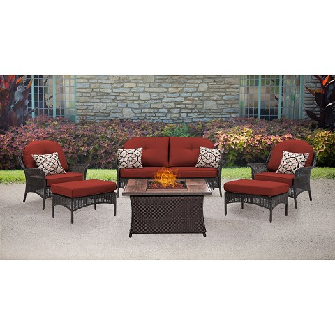 San Marino 6PC Fire Pit Lounge Set with Wood Grain Tile Top in Crimson Red - SMAR6PCFP-RED-WG