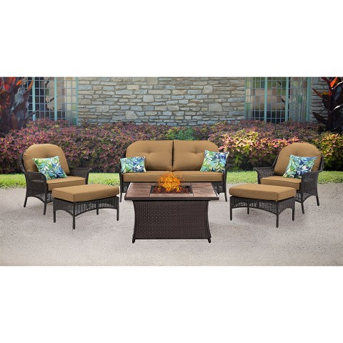 San Marino 6PC Fire Pit Lounge Set with Tan Porcelain Tile Top in Country Cork - SMAR6PCFP-TAN-TN
