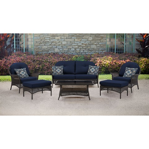 San Marino 6PC Seating Set in Navy Blue - SMAR-6PC-NVY