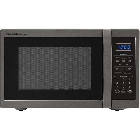 Sharp Carousel 1 4 Cu Ft 1100w Countertop Microwave Oven In Black Stainless Steel Smc1452ch