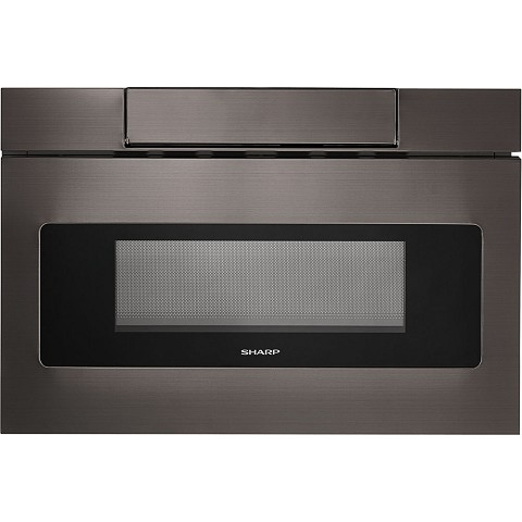 "Sharp 24"" Flat Panel Microwave Drawer in Black Stainless Steel - SMD2470AH"