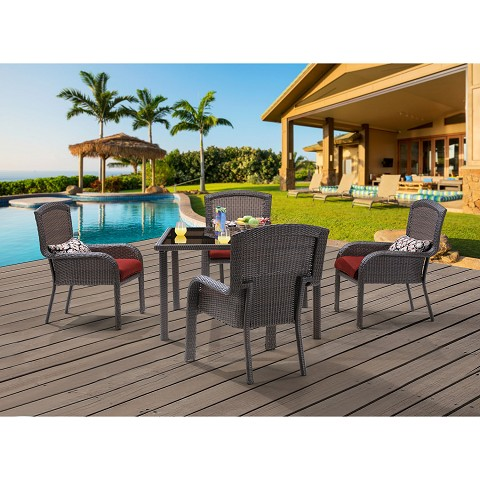 Strathmere 5PC Square Dining Set - STRADN5PCSQ-RED