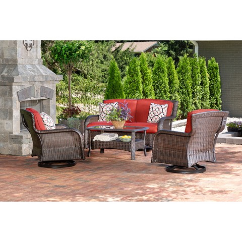 Hanover Strathmere 4-Piece Lounge Set in Crimson Red - STRATH4PCSW-LS-RED