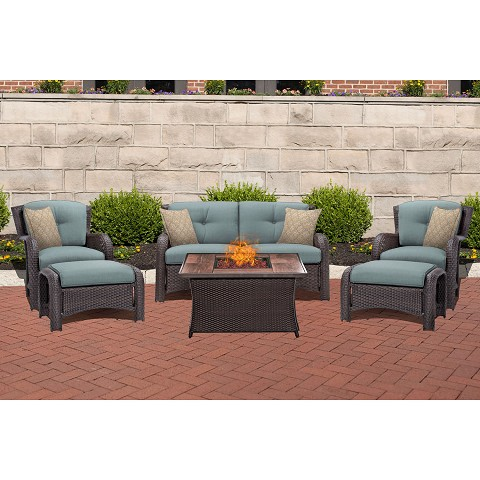 Strathmere 6PC Lounge Set In Ocean Blue with Wood Grain Tile Top Fire Pit Table - STRATH6PCFP-BLU-WG