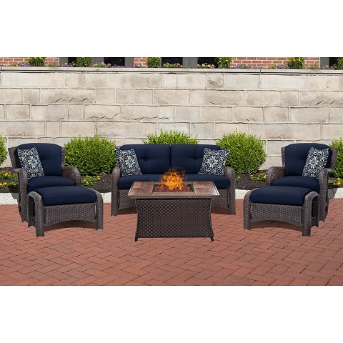 Strathmere 6PC Lounge Set in Navy Blue with Wood Grain Tile Top Fire Pit Table - STRATH6PCFP-NVY-WG