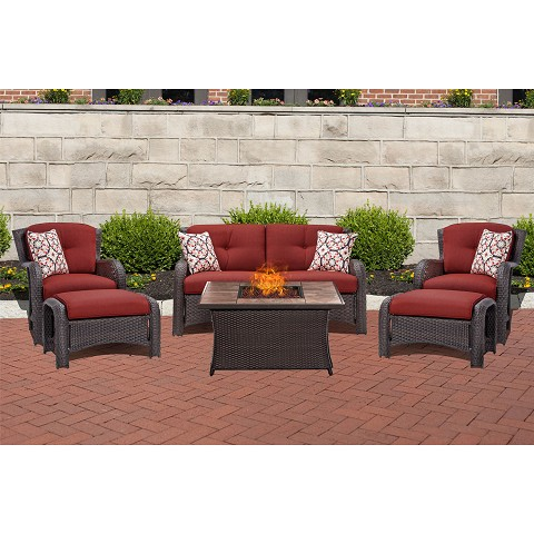 Strathmere 6PC Lounge Set In Crimson Red with Stone-Top Fire Pit Table - STRATH6PCFP-RED-TN