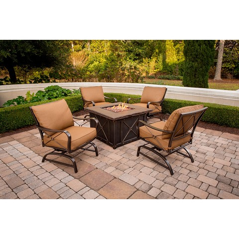 Summer Nights 5PC Fire Pit Set w/ Aluminum Chairs in Woodland Rust - SUMMRNGHT5PC-ALUM