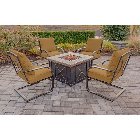 Summer Nights 5PC Fire Pit Lounge Set with 4 C-Spring Rockers and Gas Fire Pit - SUMMRNGHT5PCFPSP