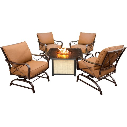 Summer Nights 5PC Conversation Set with Cast-Top Fire Pit Table - SUMMRNGHTCAST