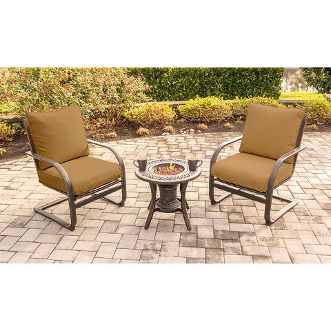 Summer Nights 3PC Fire Pit Chat Set with 2 C-Spring Chairs and Fire Pit Side Table - SUMRNGT3PCSP-URN