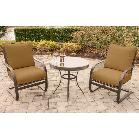 Summer Nights 3PC Dining Set with 2 C-Spring Chairs and a 30 In. Glass-top Table - SUMRNGTDN3PCGSP