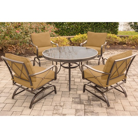 Summer Nights 5PC Dining Set with Four Cushioned Rockers and a 48 In. Glass-top Table - SUMRNGTDN5PCG