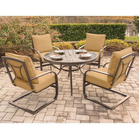 Summer Nights 5PC Dining Set with 4 C-Spring Rockers and a 48 In. Glass-top Table - SUMRNGTDN5PCGSP