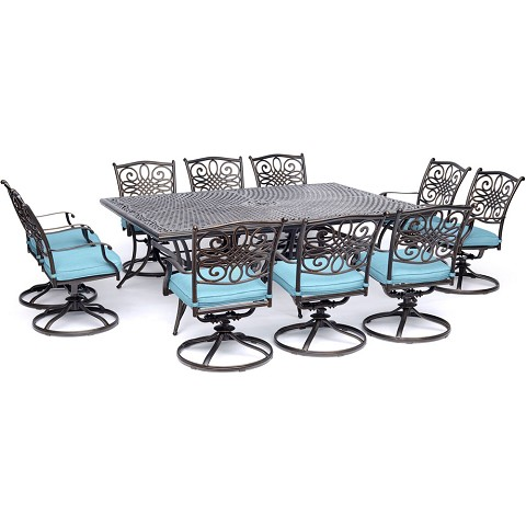 Hanover Traditions 11-Piece Dining Set in Blue with Ten Swivel Rockers and an Extra-Long Dining Table - TRADDN11PCSW10-BLU