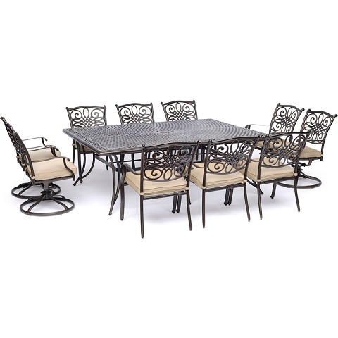Hanover Traditions 11-Piece Dining Set in Tan with Four Swivel Rockers, Six Dining Chairs, and an Extra-Long Dining Table - TRADDN11PCSW4