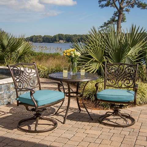 Traditions 3PC Bistro Set with Two Swivel Rockers and a 32 in. Round Table in Blue - TRADDN3PCSW-BLU