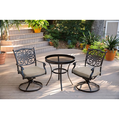 Traditions 3PC Swivel Bistro Set  in Tan with 30 in. Glass-top Table - TRADDN3PCSWG