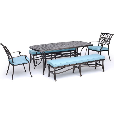 "Hanover Traditions 5-Piece Outdoor Dining Set in Blue with Two Dining Chairs, Two Benches, and a 72"" x 38"" Cast-top Table - TRADDN5PCBN-BLU"