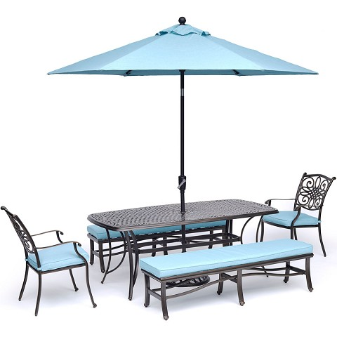 Hanover Traditions 5-Piece Outdoor Dining Set in Blue with 2 Chairs, 2 Benches, 72 x 38 In. Cast-top Table, 9 Ft. Umbrella and Stand - TRADDN5PCBN-SU-B