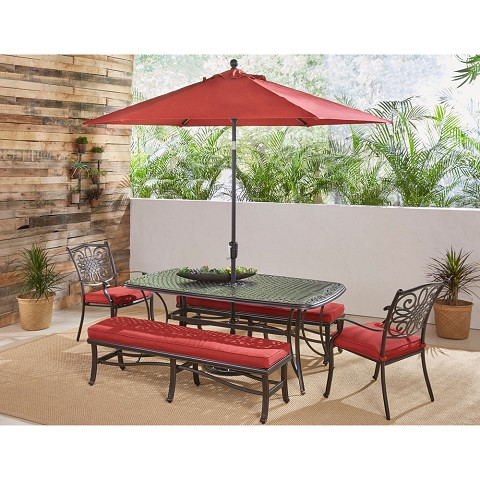 Hanover Traditions 5-Piece Outdoor Dining Set in Red with 2 Chairs, 2 Benches, 72 x 38 In. Cast-top Table, 9 Ft. Umbrella and Stand, TRADDN5PCBN-SU-R