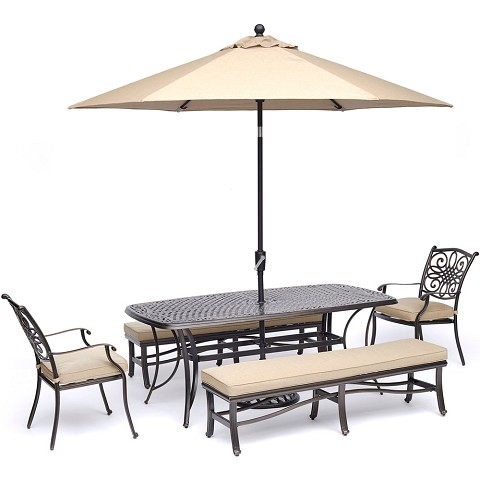 Hanover Traditions 5-Piece Outdoor Dining Set in Tan with 2 Chairs, 2 Benches, 72 x 38 In. Cast-top Table, 9 Ft. Umbrella and Stand - TRADDN5PCBN-SU-T