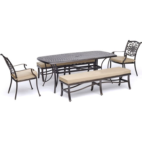 "Hanover Traditions 5-Piece Outdoor Dining Set in Tan with Two Dining Chairs, Two Benches, and a 72"" x 38"" Cast-top Table - TRADDN5PCBN-TAN"