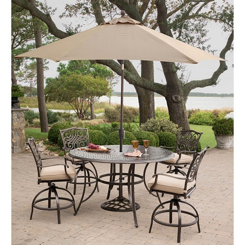 Hanover Traditions 5-Piece High-Dining Set in Tan with 4 Swivel Chairs, 56 In. Cast-top Table, and a 9 Ft. Umbrella with Stand - TRADDN5PCBR-SU