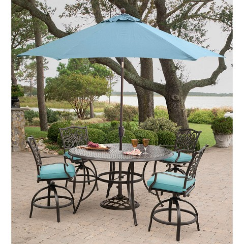 Hanover Traditions 5-Piece High-Dining Set in Blue with 4 Swivel Chairs, a 56 In. Cast-top Table, and a 9 Ft. Umbrella with Stand - TRADDN5PCBR-SU-B