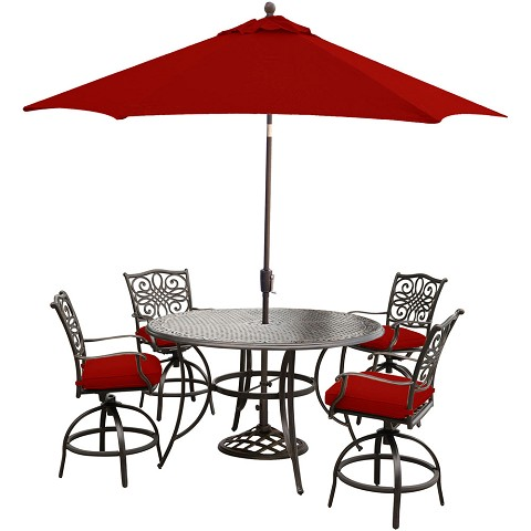 Hanover Traditions 5-Piece High-Dining Set in Red with 4 Swivel Chairs, 56 In. Cast-top Table, 9 Ft. Umbrella and Stand, TRADDN5PCBR-SU-R