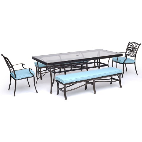 "Hanover Traditions 5-Piece Outdoor Dining Set in Blue with Two Dining Chairs, Two Benches, and a 42"" x 84"" Glass-top Table - TRADDN5PCGBN-BLU"