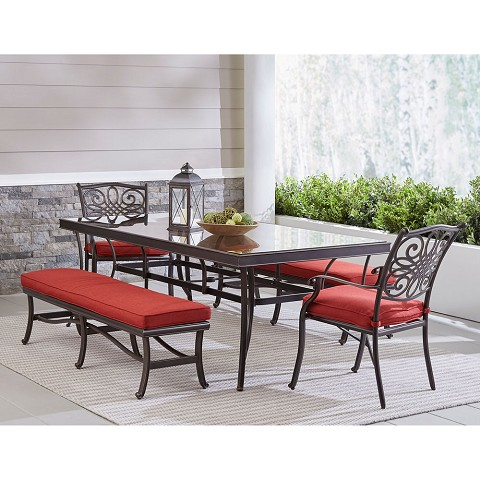 "Hanover Traditions 5-Piece Outdoor Dining Set in Red with Two Dining Chairs, Two Benches, and a 42"" x 84"" Glass-Top Table, TRADDN5PCGBN-RED"
