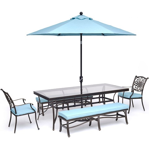 Hanover Traditions 5-Piece Outdoor Dining Set in Blue with 2 Dining Chairs, 2 Benches, XL Glass-top Table, 11 Ft. Umbrella and Base - TRADDN5PCGBN-SU-B