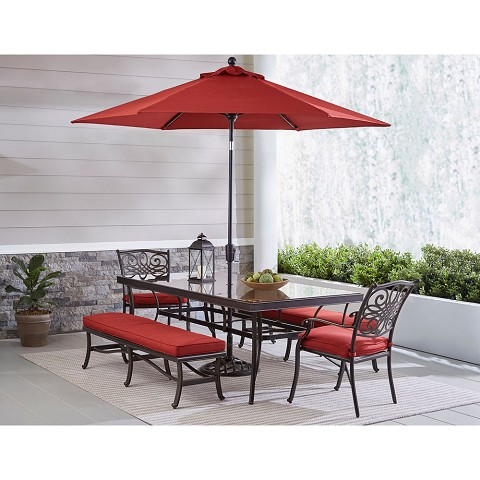 Hanover Traditions 5-Piece Outdoor Dining Set in Red with 2 Dining Chairs, 2 Benches, XL Glass-top Table, 11 Ft. Umbrella and Base, TRADDN5PCGBN-SU-R
