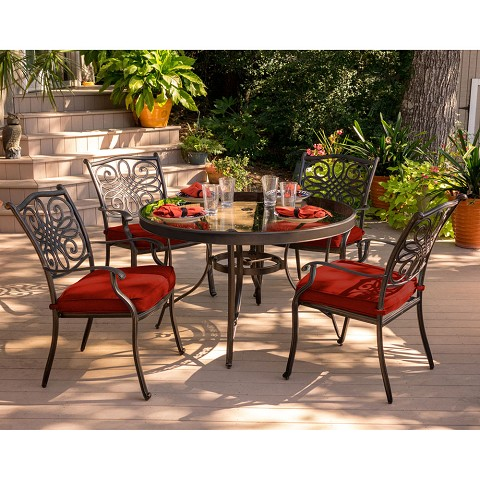Hanover Traditions 5-Piece Dining Set in Red with 48 In. Glass-top Table - TRADDN5PCG-RED