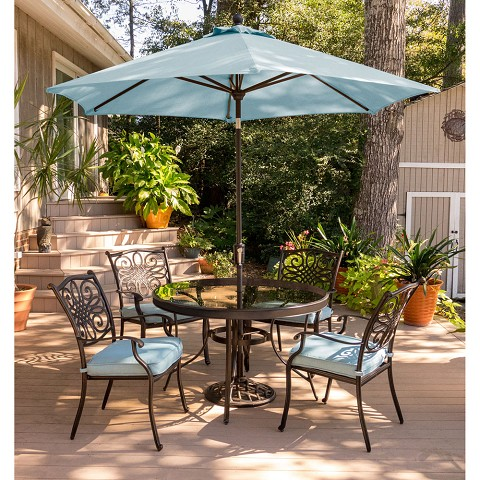 Traditions 5PC Dining Set in Tan with 48 In. Glass-top Table, 9 Ft. Umbrella and Stand - TRADDN5PCG-SU