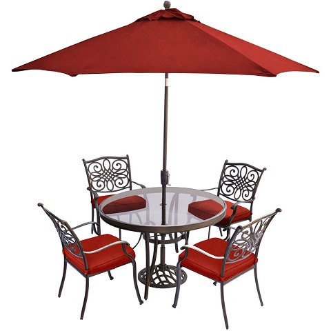 Hanover Traditions 5-Piece Dining Set in Red with 48 In. Glass-top Table, 9 Ft. Table Umbrella, and Umbrella Stand - TRADDN5PCG-SU-R