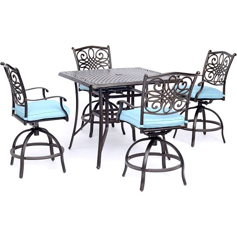 Hanover Traditions 5-Piece High-Dining Set in Blue with a 42 In. Square Cast-top Table - TRADDN5PCSQBR-B