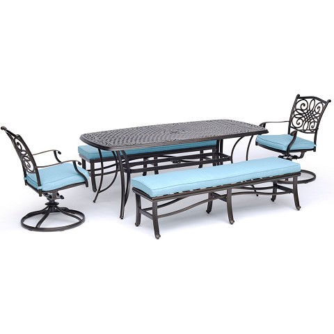 "Hanover Traditions 5-Piece Patio Dining Set in Blue with 2 Swivel Rockers, 2 Cushioned Benches, and a 38"" x 72"" Cast-Top Dining Table - TRADDN5PCSW2BN-BLU"