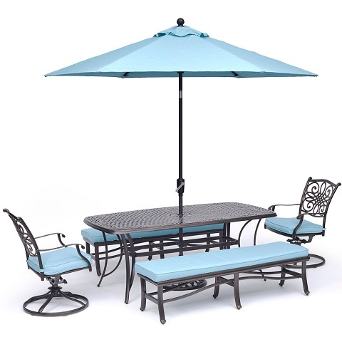 "Hanover Traditions 5-Piece Dining Set in Blue with 2 Swivel Rockers, 2 Benches, a 38"" x 72"" Cast-Top Table, 9 Ft. Umbrella and Stand - TRADDN5PCSW2BN-SU-B"
