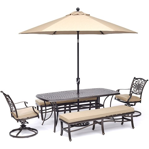 "Hanover Traditions 5-Piece Dining Set in Tan with 2 Swivel Rockers, 2 Benches, a 38"" x 72"" Cast-Top Table, 9 Ft. Umbrella and Stand - TRADDN5PCSW2BN-SU-T"